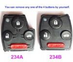 2 3 4 Button Replacement Remote Key Cover Case for Honda Civic Accord Fit Odyssey Pilot Inside key Inner Shell Fob Without Chip