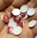 14mm Fiat red curved key logo Aluminum sticker badge emblem
